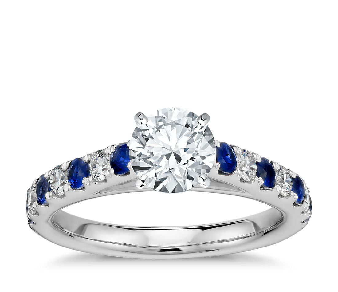 Diamond Engagement Ring With Sapphire Wedding Band